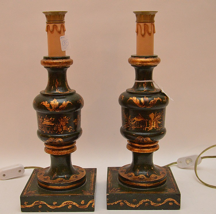 Pair painted wood lamps