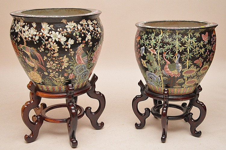2 ceramic fish bowls, black ground with Flora & Fauna, 17 1/2