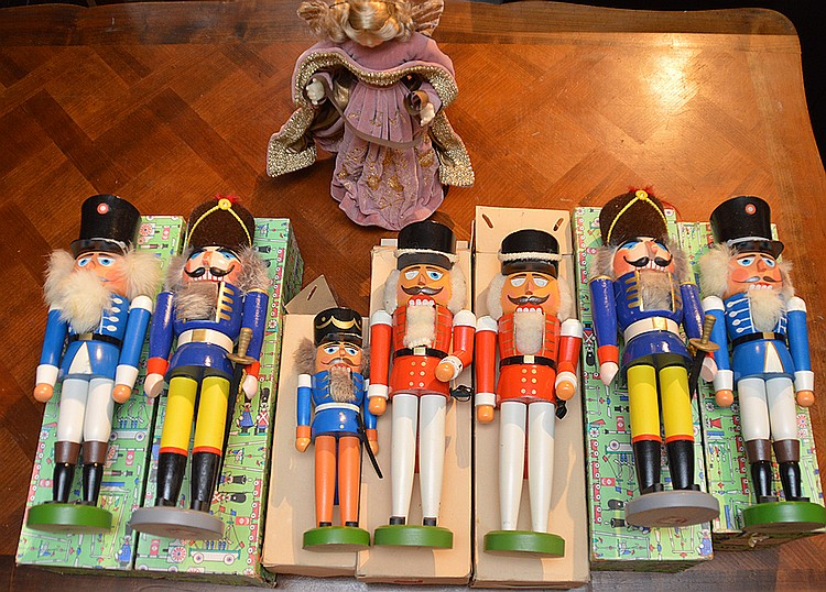 Lot 8 Vintage German Nut Crackers with original boxes largest Ht. 15