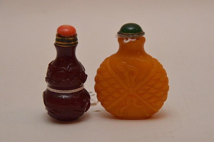 Two Chinese Peking Glass Snuff Bottles.  1 Yellow Ht. 2 1/4