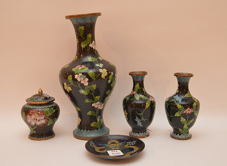 Lot 5 Pieces Cloisonné.  1 Large Vase Ht. 10 1/4