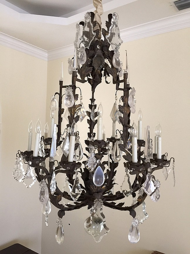Large French Style Metal & Crystal Chandelier.