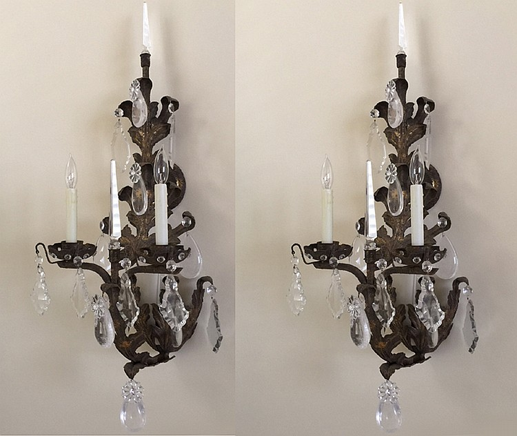 Pair Metal 2 Light Sconces with rock crystal prisms Ht. 40