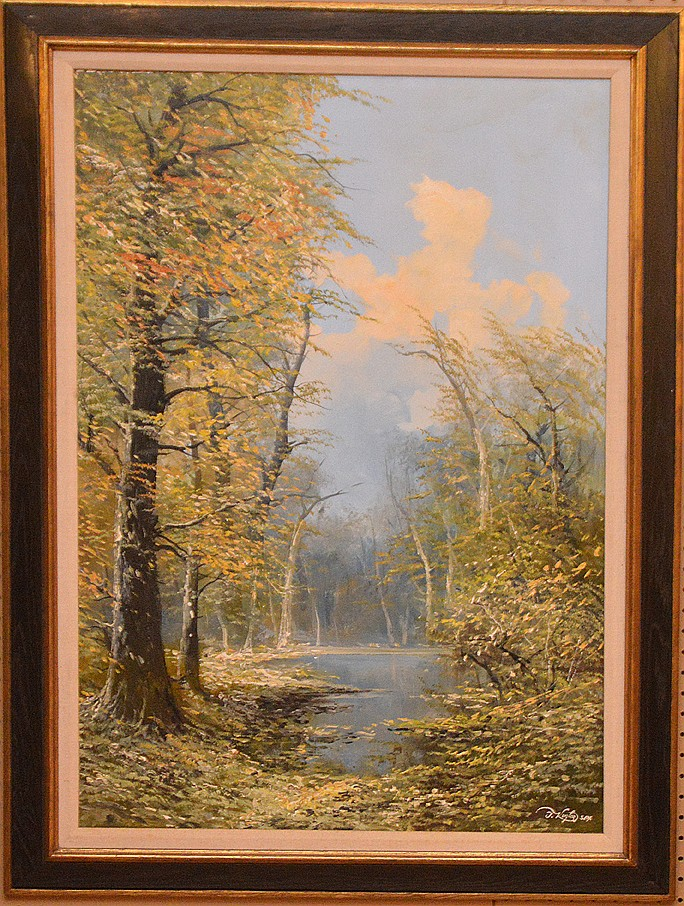 Josef Kugler (GERMAN, mid 20th Century) oil on canvas, Landscape with trees, 36inches x 24inches