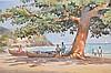 Tom Hill (AMERICAN, b.1925) Watercolor, Caribbean Beach Scene, Haiti, 14inches x 21inches sight