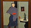 ATTRIBUTED TO: Sonia Delaunay (UKRAINIAN, 1885-1979) Modern oil painting, woman at door, 4 x 3inches. Verso reads SD