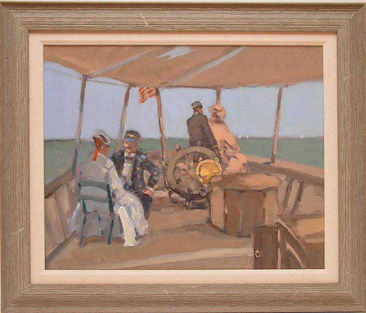 Frederick McDuff (AMERICAN, 1931) oil on canvas, THE REGATTA, 17inches x 21inches