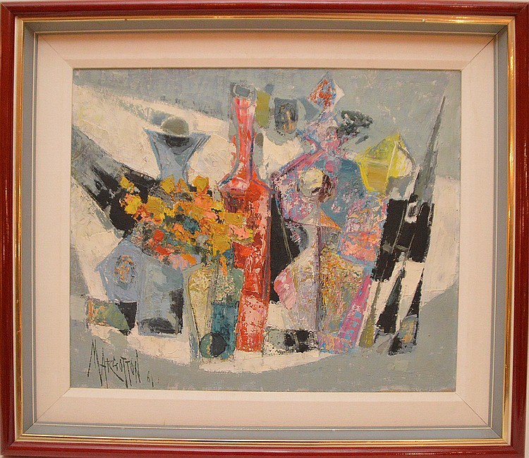 René Margotton  (France 1915 - 2009) oil on canvas, Modern Sill Life Painting, 18inches x 21inches