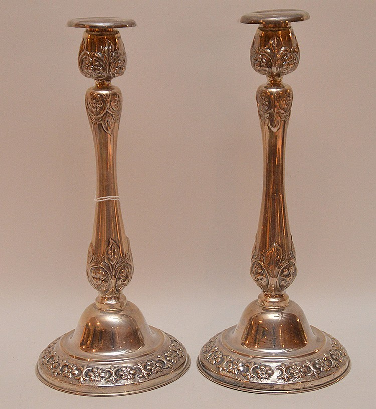 Pair sterling candlesticks, 17.5ozt, 12 1/2