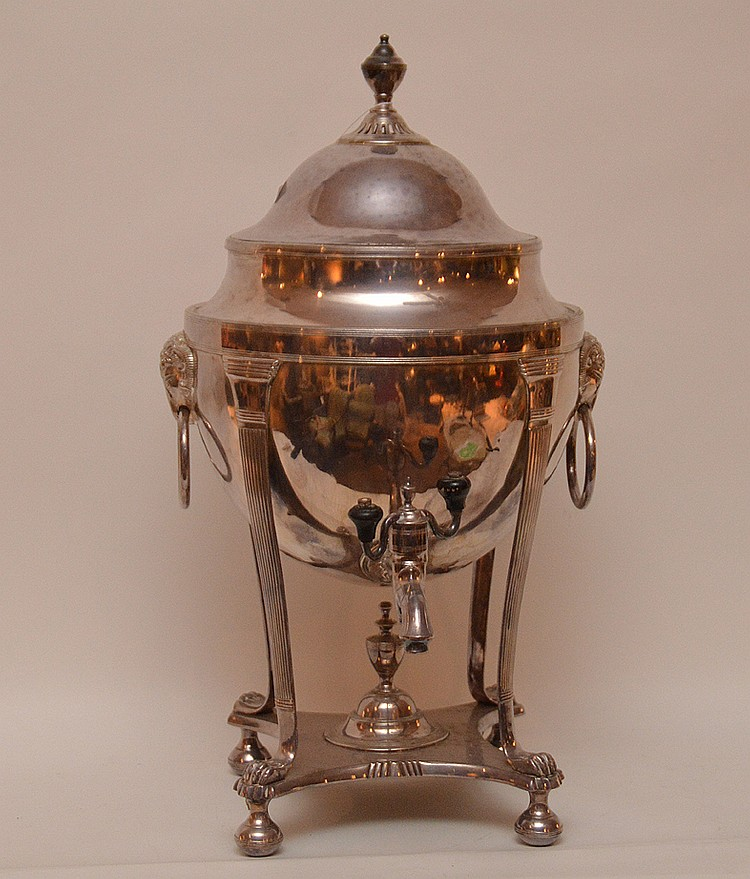 Silver plate large urn, 19 1/2
