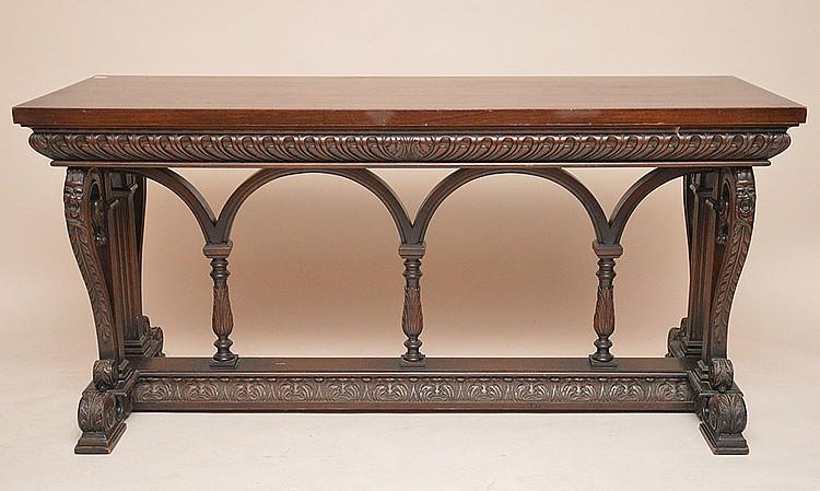 Carved oak trestle table, 3 vertical supports on stretcher base, 29