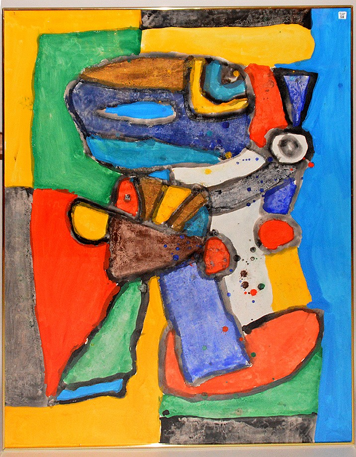 Jacques Soisson (FRENCH, b. 1928) gouache on paper 1980, titled-REPONSE A' TOUT, Carone Gallery label on reverse, 62-1/2inches x 42inches