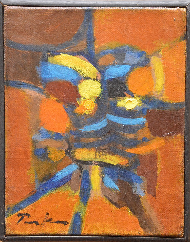 Bill Parker (AMERICAN, 1922) Abstract Composition, oil on canvas, 7 inches x 5-1/2 inches
