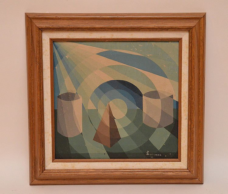 American School, geometric composition, oil on canvas, signed illegibly and dated '52, image size 9 ¼ x 9 ¾ inches