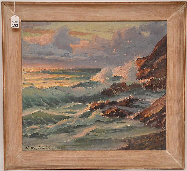 Constantin Aleksandrovich Westchiloff (RUSSIAN, 1877-1945) oil on canvas, Seascape, 19inches x 21inches