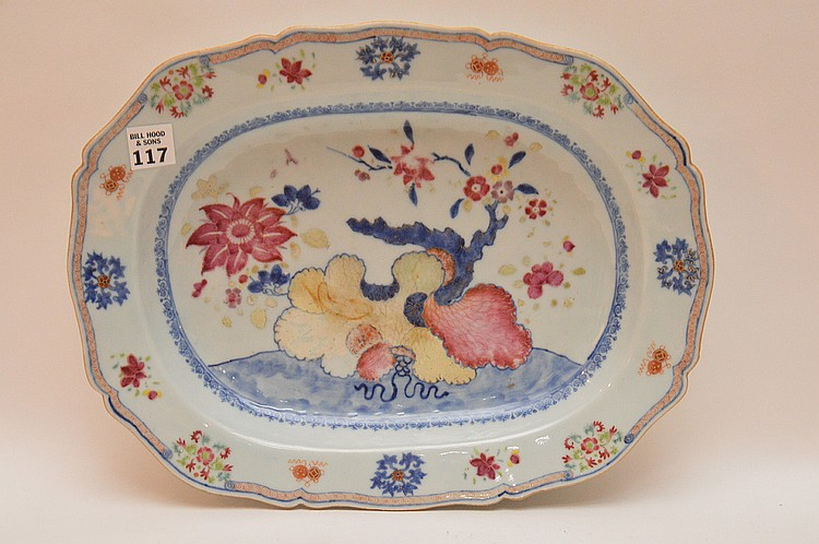 Chinese Porcelain Platter.  Condition: one chip on the rim which can only be seen on the back. 11 1/2