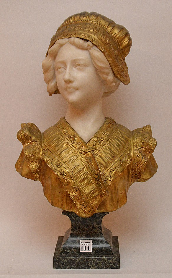 AFFORTUNATO GORY MARBLE & GILT BRONZE BUST OF A YOUNG MAIDEN. Signed A Gory Paris on the bronze. Raised on a green marble base. Ht. 21 1/2