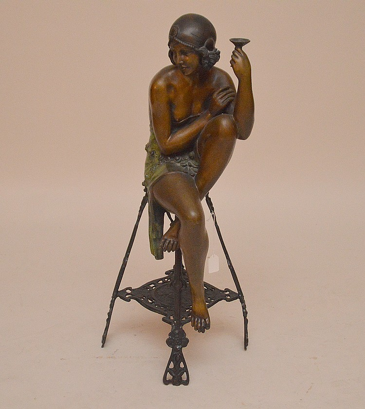 Bronze Deco Style Seated Dancer. Ht. 30