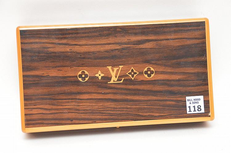Louis Vuitton Inlaid Humidor. Ht. 2 1/4