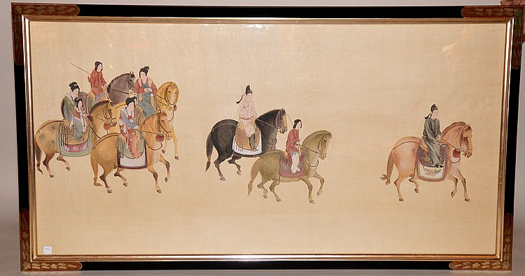 Oriental watercolor on silk, family on horses