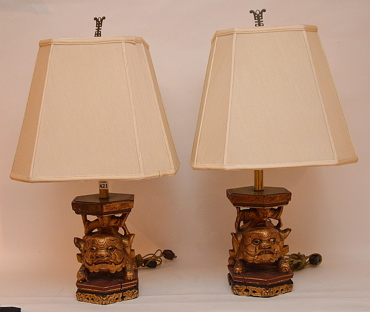 Pair giltwood foo dog lamps, 9