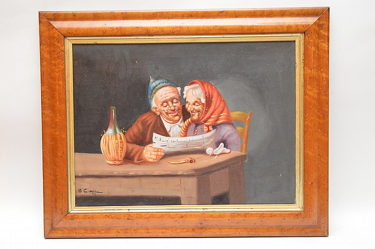 B. Ciappa 20th century Itlailan oil painting, elder couple