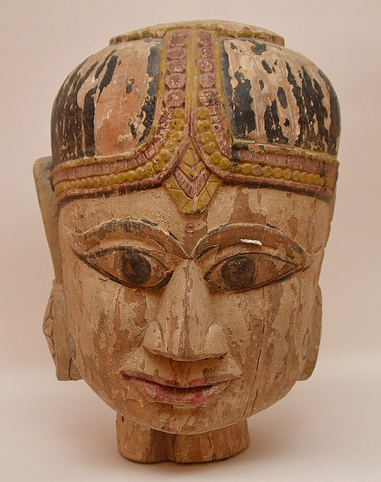 Painted Wood Buddha Head.  The paint is flaking off.  Ht. 18