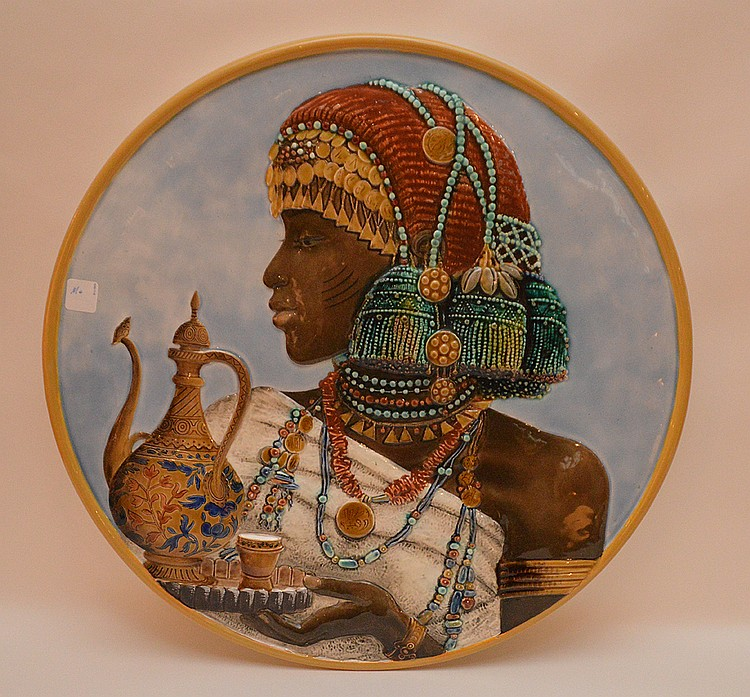 Pottery Charger With Egyptian Woman.  Dia. 21