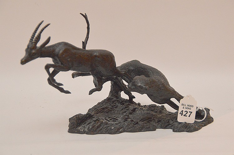 Gorham Bronze Sculpture depicting cheetha and ram.  Ht. 7 1/4