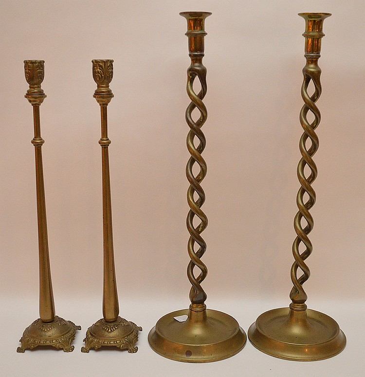 Two Pair Brass Candlesticks.  1 Pair with twist design Ht. 21