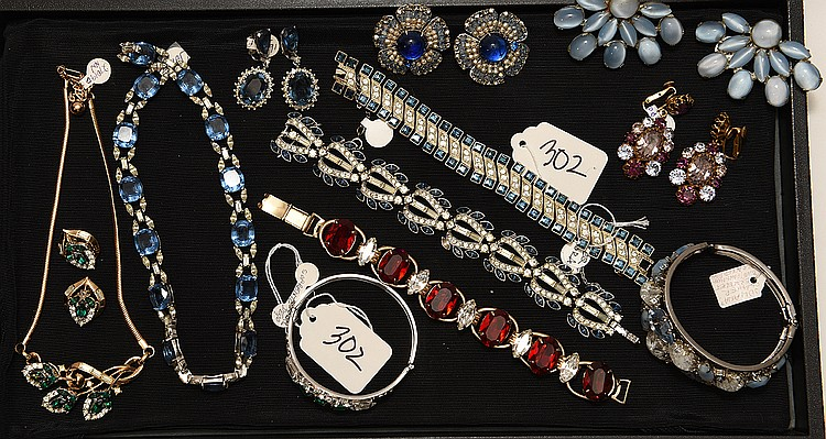 Lot of 10 pieces of costume jewelry, incl; (1) silver color bracelet with 3 green stones (1) blue stone necklace with earrings, 14