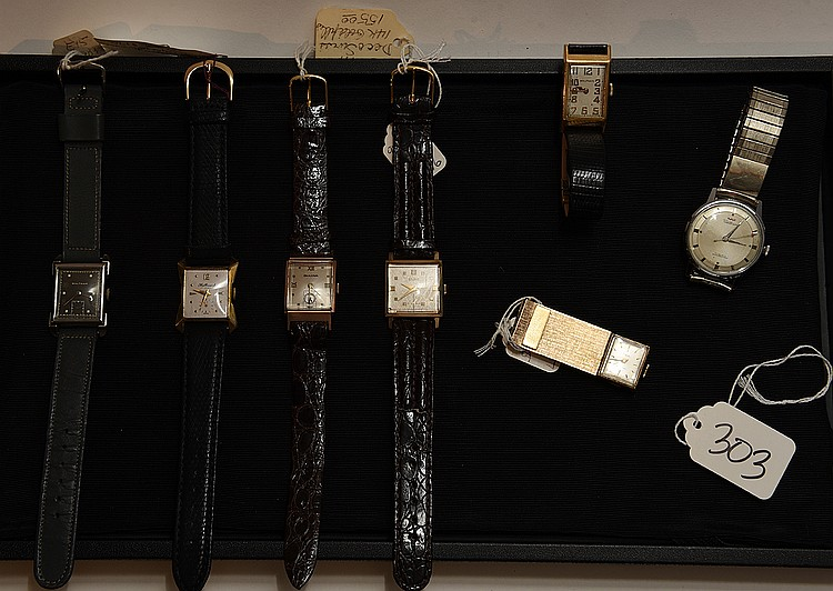 Lot of vintage watches, incl; 10Kt Elgin, Waltham, Bulova 14kt gold filled, Waltham G.F. grey strap, 10kt rolled gold hallmark, G.F. money clip Sheffield watch, Waltham silver tone watch