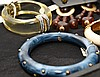 Lot of 6 pieces of vintage costume, incl; (1) Ciro deco lucite bangle (1) Italian wide black bangle with multi color stones (1) KJL blue marbleized bangle (1) KJL hinged white bangle with multi color stones (1) mixed metal Italian bangle (1) Fedra
