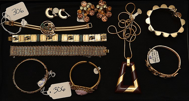 Lot of 10 pieces of costume jewelry, incl; (1) pair green stone Christian Dior earrings (1) stamped 925 bangle bracelet gold wash (1) Boucher gold color bracelet (1) gold filled deco bracelet (1)Topaz color earrings (1) coil type bracelet green stone