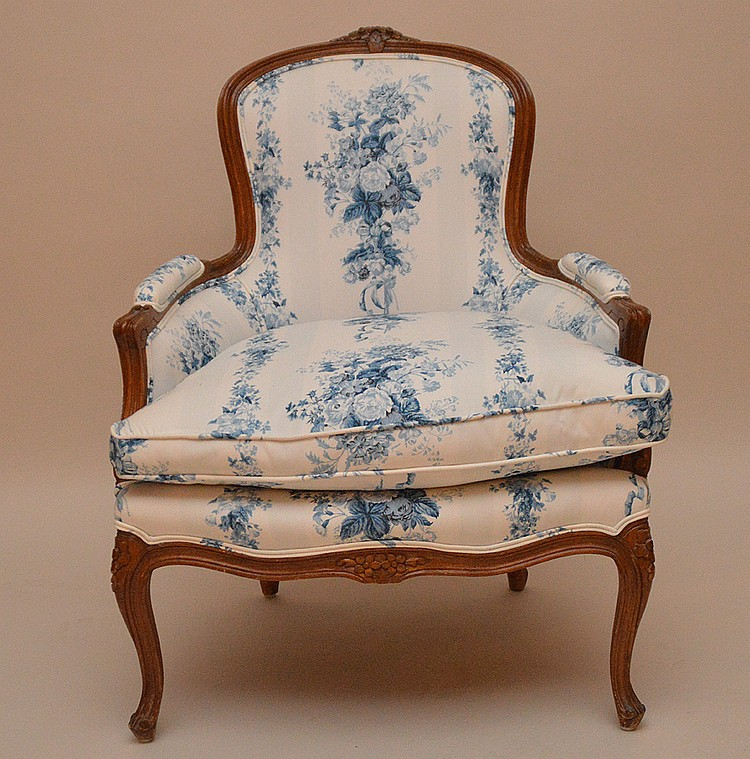 French bergere, Ralph Lauren blue and white upholstery