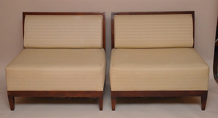 Pair matching settees, Baker labels, upholstered, 33
