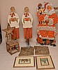 Christmas lot, incl;  Vintage Santa (4 1/2'h), 2 Vintage choir boys (5'), pair framed prints, pair gold colored angel plaques (lightweight) and small bark chair