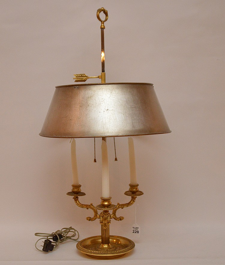 Gilt Bronze Boulette Lamp with solver tole shade.  Ht. 30