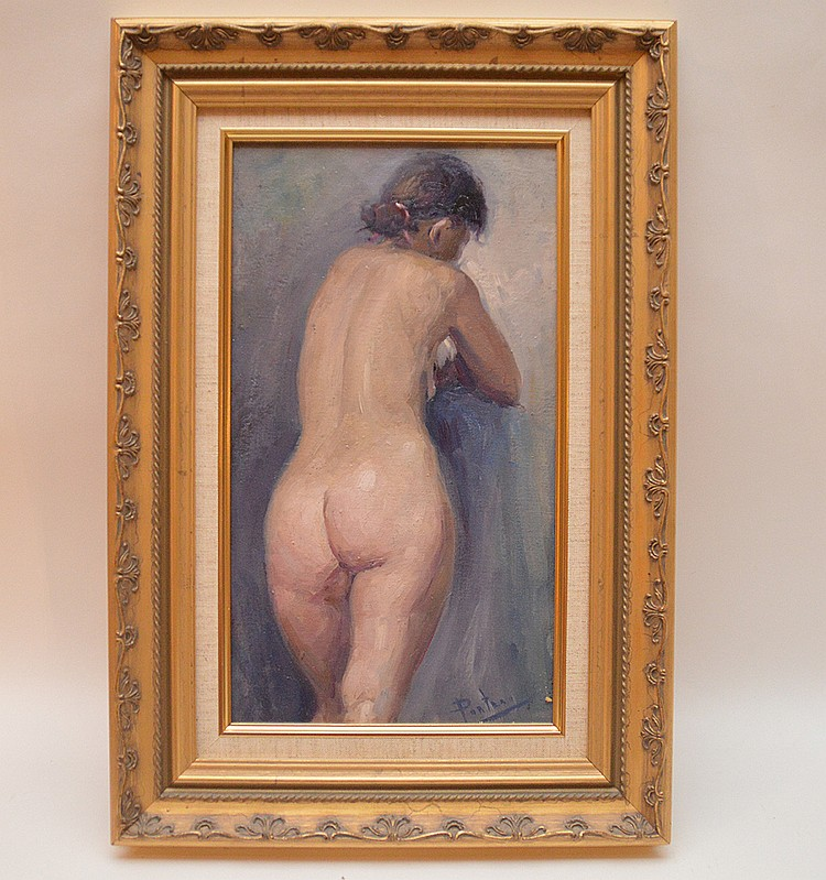 Standing Nude signed Panteau? Oil on canvas, 14inches x 8inches,