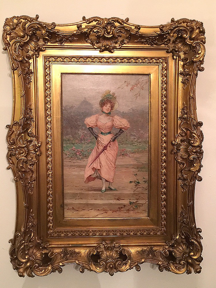 Frederik Hendrik Kaemmerer (DUTCH, 1839-1902) oil on canvas, Elegant woman with bonnet in a landscape, antique fancy gilt frame, 18-1/4in. X 11in.