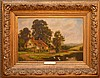 Henry M. Cooper (BRITISH, 19th Century) oil on canvas, NEAR DORKING AT SURREY, house by a river with ducks, signed lower right, in a highly decorative period wood and gesso gold leaf frame, 20in. X 30in.
