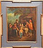 British 17/18th Century, Large Family at A Merchants Booth, oil on relined canvas, 23in. x 19in. No visible signature in a period style decorative black and gold wood frame
