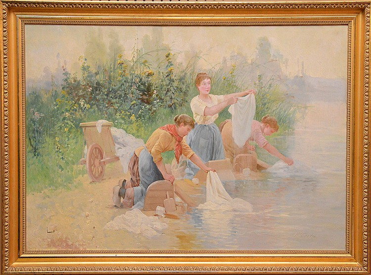Pierre Testu (FRENCH, ) oil on canvas, women washing clothes, 26inches x 36-1/2inches,small tear in canvas