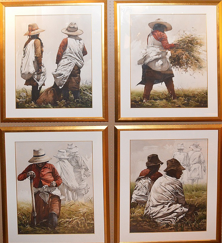 Collection of 4 Luis Pantigozo (Peruvian born 1958) Watercolors, field workers, 21inches x 29inches sight,
