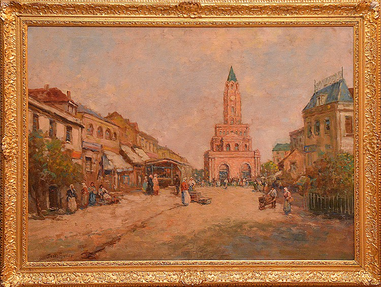 Dennis Ainsley  (1880 - 1952) oil on canvas, Town Scene, 28inches x 38inches frame chipped
