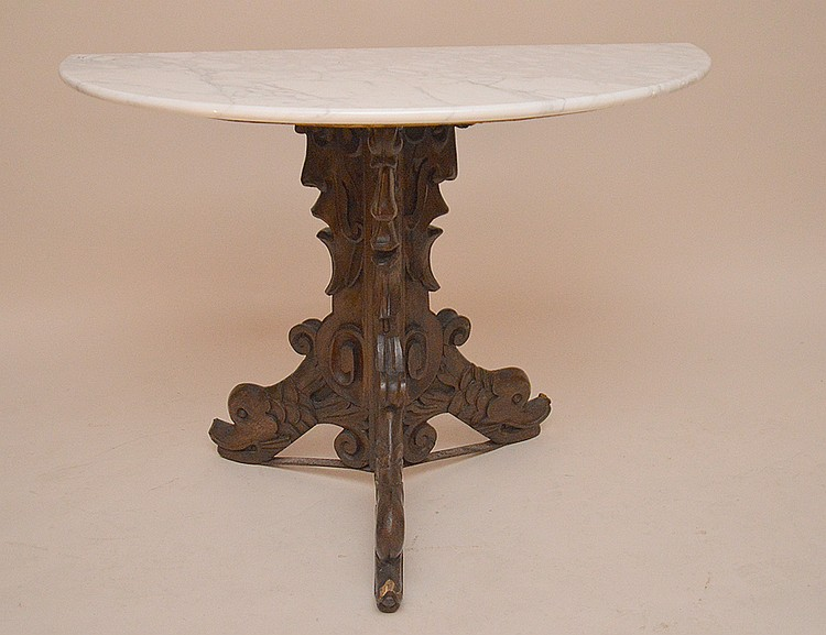 Demi lune table with 3 carved dolphin supports, marble top, 28