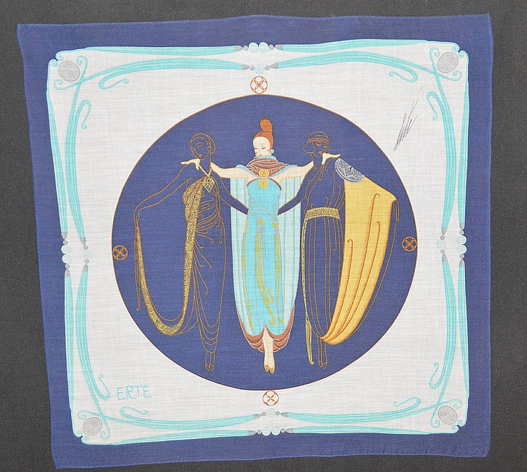 Erté (FRENCH, 1892-1990) Scarf/handkerchief, hand signed upper right in pen, 20inches x 20inches, framed under glass