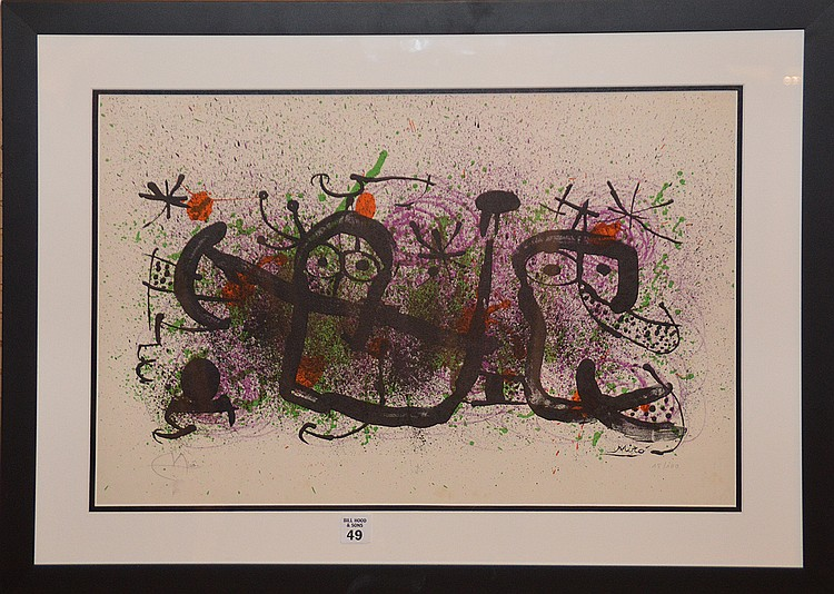 Joan Miró (SPANISH, 1893-1983) Lithograph, Ma de Proverbis, size height 14.25