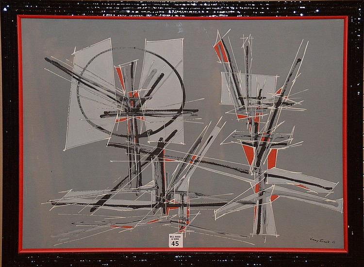 Jimmy Ernst (AMERICAN/GERMAN, 1920-1984) Gouache/Watercolor Abstract, 17inches x 23inches sight, signed & dated '54