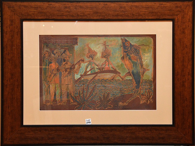 Carlos Cruz-Diez dated '50, watercolor,